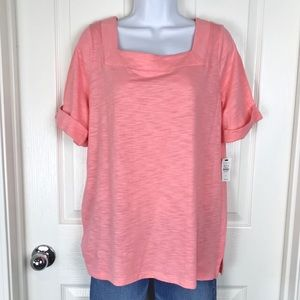 Talbots Coral Square Neck Cuffed Sleeve Top sz X